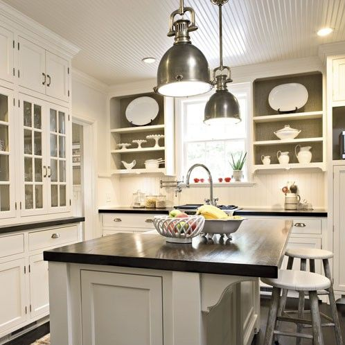 Kitchens   Shallow Shelves, Glossy White Beadboard Ceiling Floor To Ceiling  White Glass Front