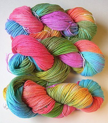 Cascade 220 in a rainbow of colors. Dyed with Easter Egg tablets tutorial