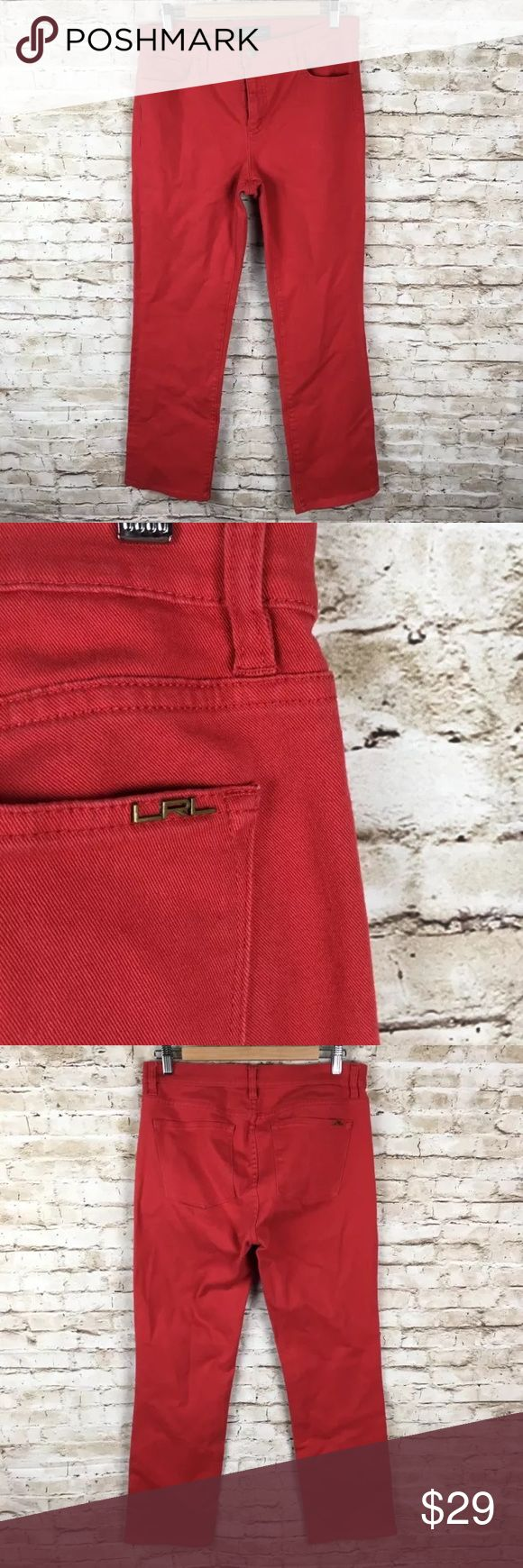 "Lauren Ralph Lauren red jeans sz 10 straight leg Lauren Ralph Lauren womens red jeans sz 10 classic straight stretch   Gently used condition. No flaws  Approximate measurements taken laying flat, un-stretched:  Waist 16"", rise 9"", inseam 30"" Lauren Ralph Lauren Jeans Straight Leg"
