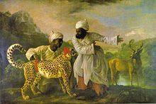 Asiatic cheetah with two imperial attendants, during the reign of Shah Alam II (India AD. 1764).