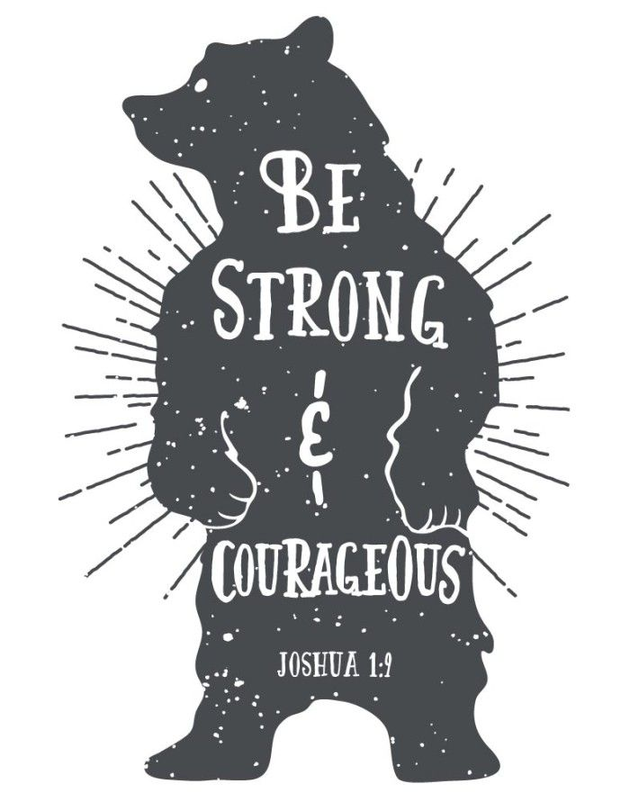 This woodland style bear displays Joshua 1:9 perfectly. This print fits any age or gender and goes with any type of room setting.