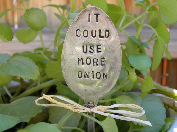 It could use more onion garden marker spoon - hand stamped - garden pick - chef cook - plant marker - re-purposed rustic spoon for planter