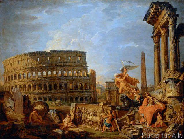 Giovanni Paolo Pannini or Panini - Ruinenlandschaft mit Kolosseum und Konstantinsbogen und Allegorie auf den Untergang des Römischen Reiches