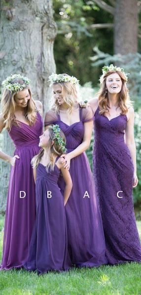 916fe51bacfa Purple Mismatched Elegant Convertible Long Bridesmaid Dresses , AB4042