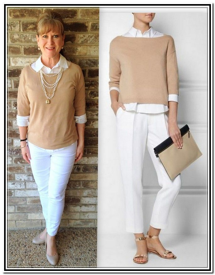 fashion for women over 50 - if your going to dress down the look with white casual pants, at least dress up the look with nice scraf or shorter and bigger necklace as astatement piece.