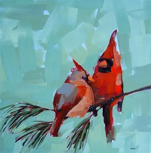 """Two Cardinals no. 3"" - Original Fine Art for Sale - © Angela Moulton"