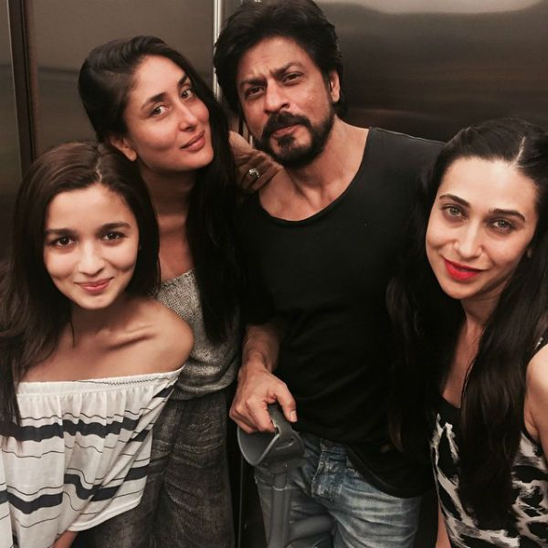 #LatestUp While the #BTown attended IIFA Awards 2015 at Kuala Lumpur, Malasia, Shah Rukh Khan, Kareena Kapoor, Karishma Kapoor and Alia Bhatt partied together!  The ladies' man & #Raees actor #SRK looks dashing with his scruffy stubble and is seen holding a walking stick, to support his leg, as he had recently undergone a knee surgery. Alia on the other hand looks cute with her dimpled smile followed by Kareena aka Bebo who is so working that tan she's got from her trip to Maldives!