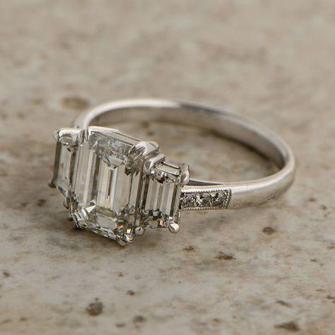 Vintage bague de diamant coupe émeraude par EstateDiamondJewelry