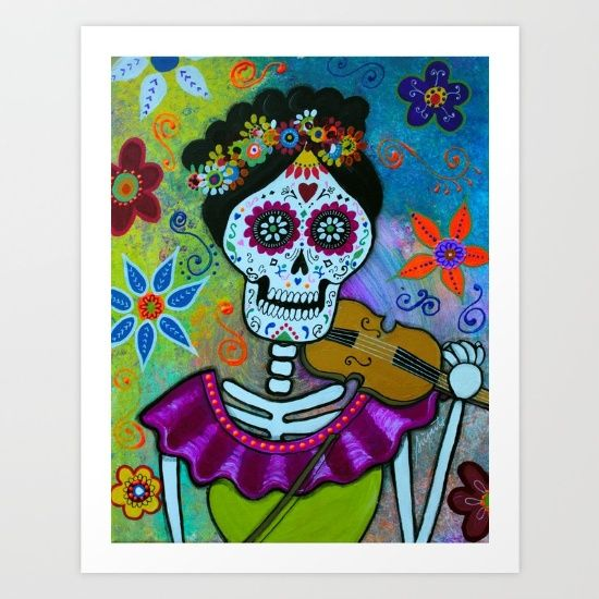 FRIDA, FRIDA KAHLO, DAY OF THE DEAD, DIA DE LOS MUERTOS, SKULL, SKELETON, FOLK ART, MEXICAN, MEXICAN PAINTINGS, DOG PAINTINGS, FLORALS, FLOWERS, WHIMSICAL, PRISTINE CARTERA-TURKUS, PRISARTS, OUTSIDER ART, BRUT ART, FLORALS, CAT, GATO, EL GATO, vioin, player, cello, viola, orchestra, band, musico