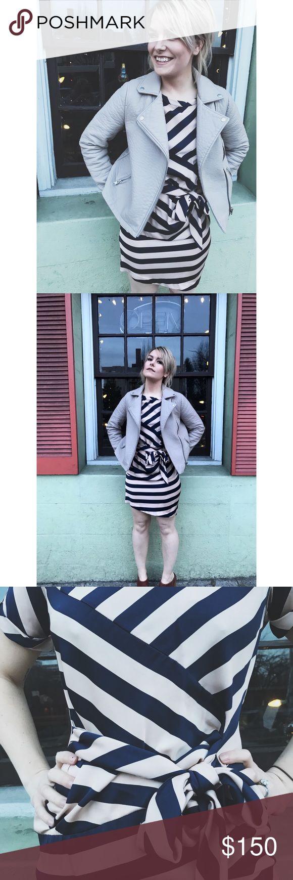 Silk Diane Von Furstenberg stripe dress. Perfect dress for your bizz professional bunch this weekend. (Pink and navy) Diane Von Furstenberg Dresses Midi