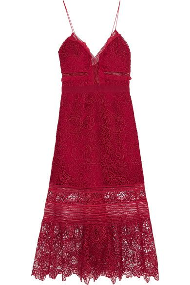 Self-Portrait's midi dress is cut from the brand's signature guipure lace - this season updated in a romantic floral pattern. The fitted bodice is framed by ruffled georgette trims and a grosgrain waistband for the most flattering effect. The rich red hue especially suits olive and dark skin tones.