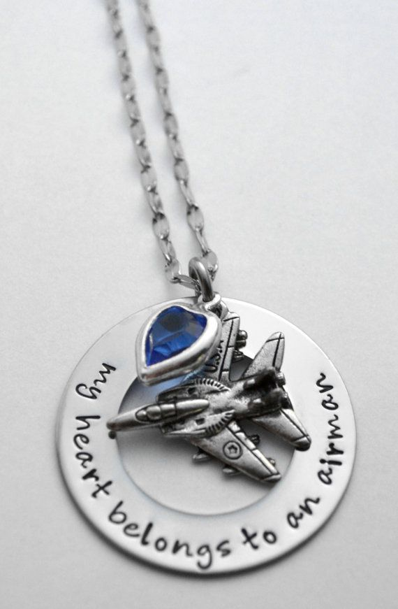 Air Force necklace Wife of an Airman Jet by LauriginalDesigns