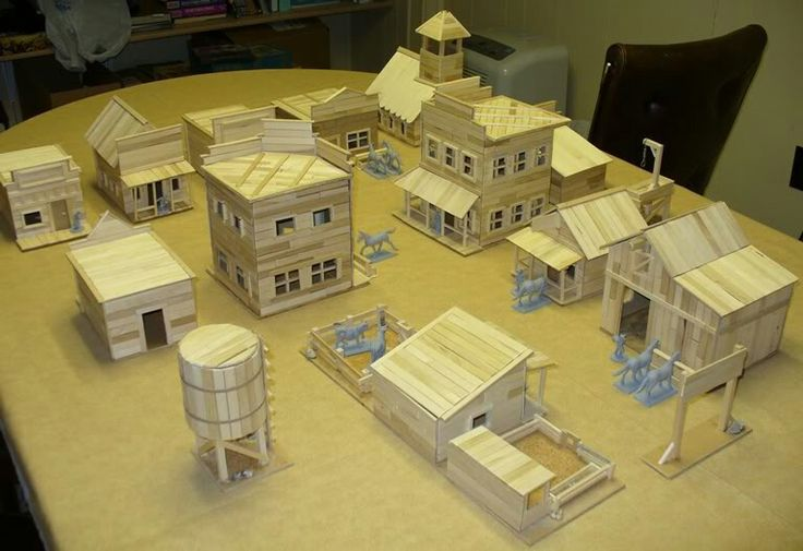 Popsicle stick Western village