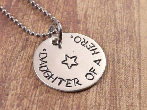 """Sterling Silver 3/4"""" Daughter Of A Hero Necklace, Army Daughter, Marines Daughter, Navy Daughter, Air Force Daughter, Police Daughter, Fire Fighter Daughter, Deployment Jewelry, Hand Stamped Jewelry by MissAshleyJewelry, $24.00"""