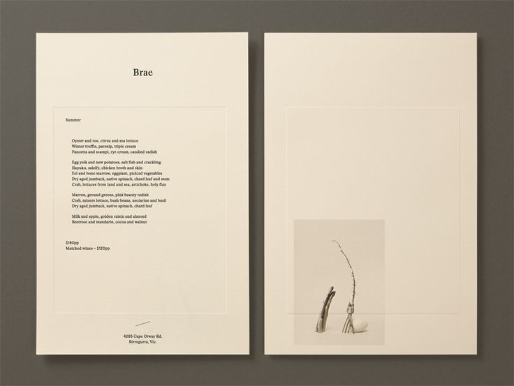 Menu with blind deboss and still life detail designed by Studio Round for restaurant Brae
