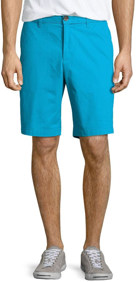 $26, Aquamarine Shorts: Penguin Basic Cotton Chino Shorts Vivid Blue. Sold by Last Call by Neiman Marcus. Click for more info: https://lookastic.com/men/shop_items/270850/redirect
