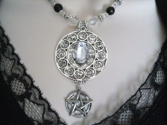 Zodiac Pentacle Necklace, wiccan jewelry pagan jewelry wicca jewelry goddess mystic gypsy pentagram witchcraft metaphysical witch new age