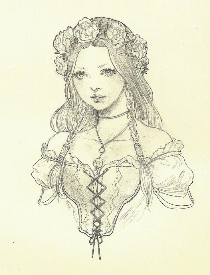 Original Bust Drawing by Jasmin Darnell
