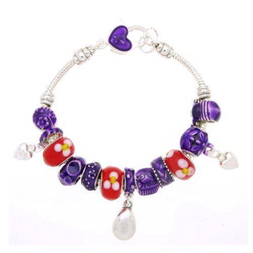 "Red Floral Hearts and Droplet Murano Style Glass Beads and Enamel Charms Bracelet, 7.5"" SWEETIE 8. $13.77. Comes with Gift Box and Polishing Cloth. Trendy bracelets great for gifts. Beads and Charms are not removable. Cannot add additional beads. Save 72% Off!"