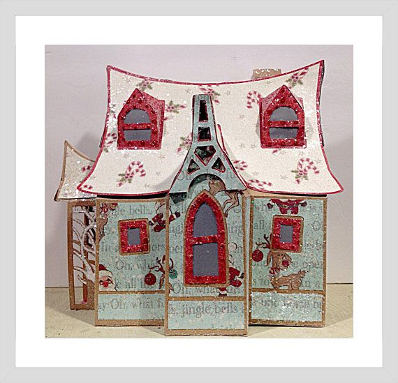 Christmas Glitter House,Centerpiece with Tea Light,Christmas Decoration,Removable Roof, Holiday Gift Box,Hand Made Card Stock Box