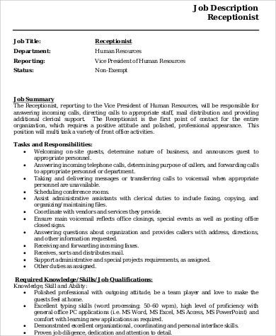Top 20 Receptionist Job Description Resume Resume Letter Ideas