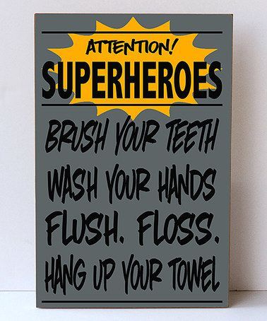 Look at this #zulilyfind! Bray & Black 'Superheroes' Bathroom Wall Sign #zulilyfinds