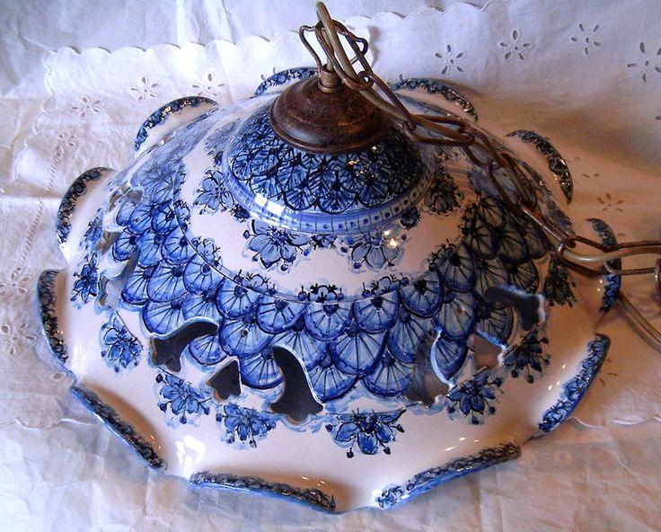 Lampadario in ceramica,foggiato al tornio,traforato e dipinto a mano, by ilciliegio, 150,00  su misshobby.com