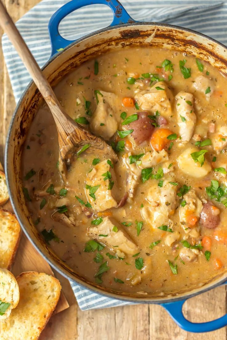 WHITE WINE CHICKEN STEW has all of the flavor and none of the fuss! Such a delicious comfort food...the perfect soup for a cold Winter night! The flavors in this chicken stew are INCREDIBLE!