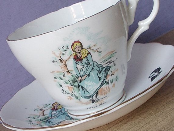 Antique Royal Ascot Little Nell tea cup and saucer, Charles Dicken's Victorian Literature, English bone china