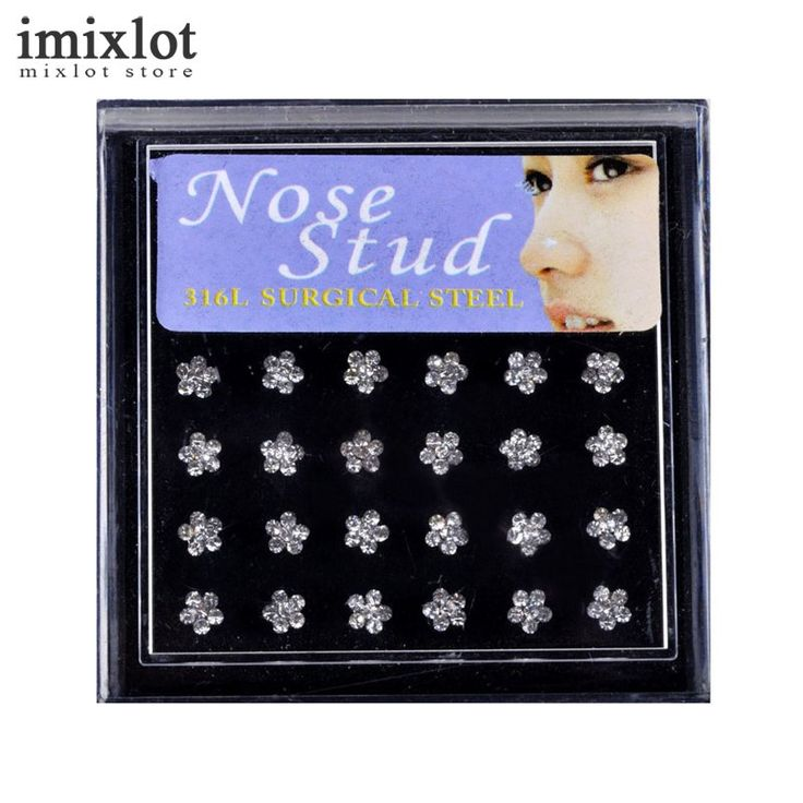 Imixlot 24pcs/pack Stainless Steel Nose Ring Studs Colorful Flower Rhinestone De Nariz Piercing Body Jewelry Earrings