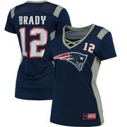 Women's New England Patriots Tom Brady Majestic Navy Draft Him Name