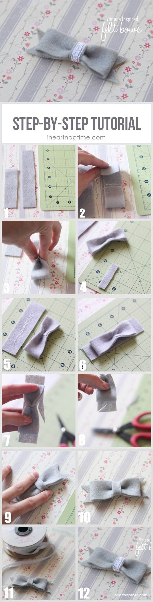 Felt bow step-by-step tutorial on iheartnaptime.com #hairaccessories #crafts