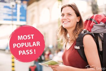 Image of a backpacker in a railway station holding the most popular rail pass, the Interrail Global Pass