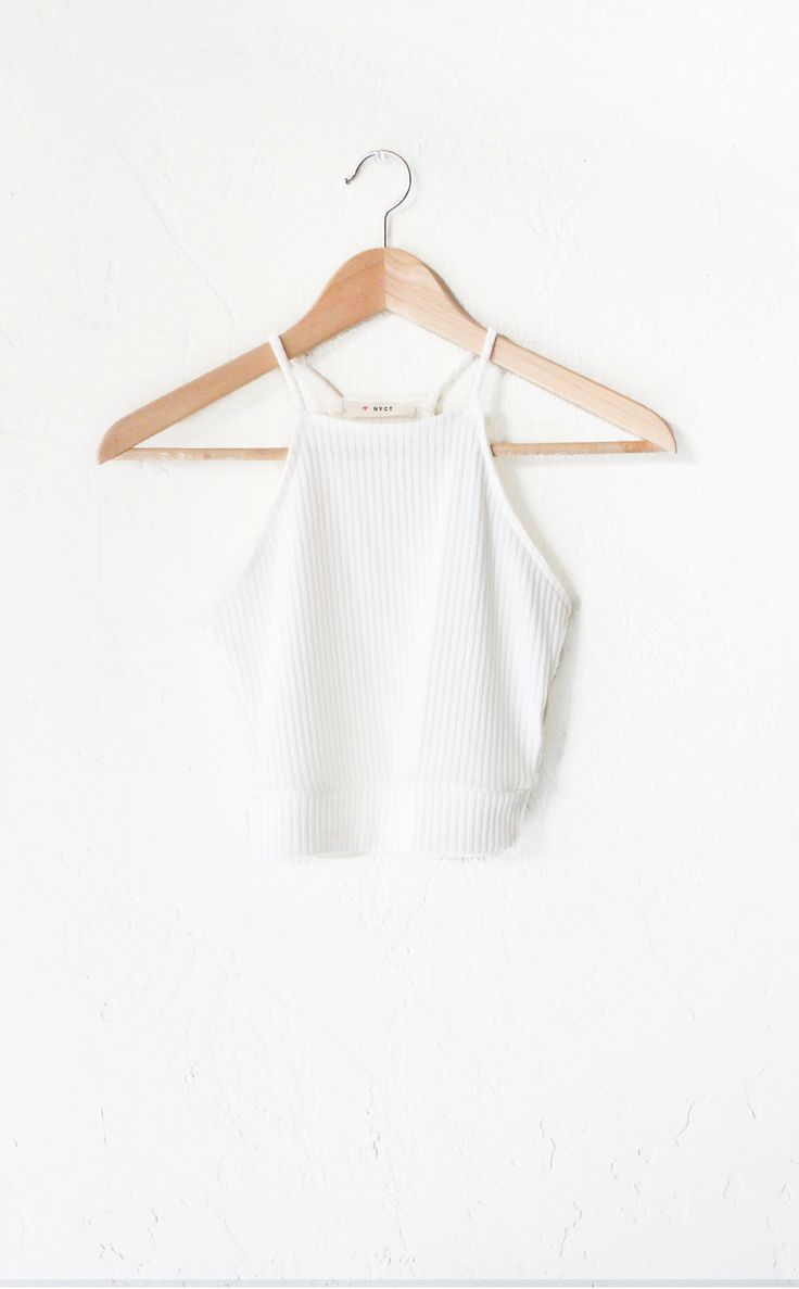 Ribbed Knit Halter Crop Top - White