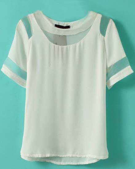 White Short Sleeve Contrast Mesh Yoke Chiffon T-Shirt