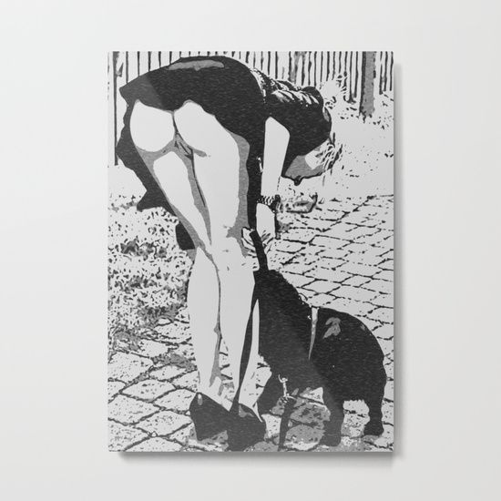 Good Doggie - glamour blonde girl caught #upskirt, hot erotic artwork, woman body beauty, kinky art in public, outdoors 20% Off + Free Shipping - #Sale Ends Tonight at Midnight PT! #kinky #erotic #art #print, #society6 #onsale