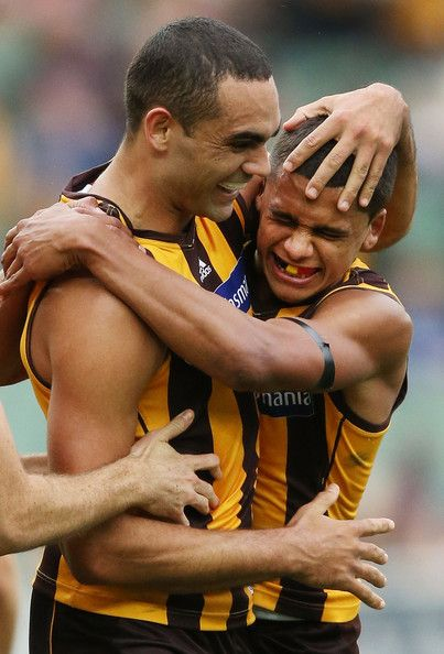 and Shaun Burgoyne (L) of the Hawks celebrates a goal with Bradley Hill during the round nine AFL match between the Hawthorn Hawks and the Gold Coast Suns at Melbourne Cricket Ground on May 26, 2013 in Melbourne, Australia.