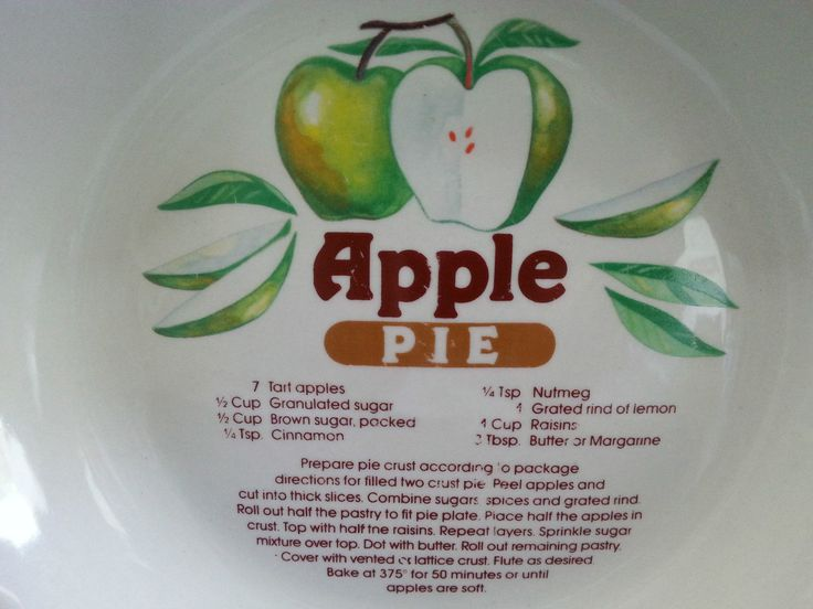 Apple Pie Plate with Printed Recipe Stoneware Bakeware American International Co | eBay