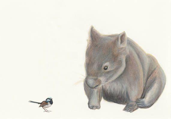 Wombat and Blue Wren  fine art print/ children's room