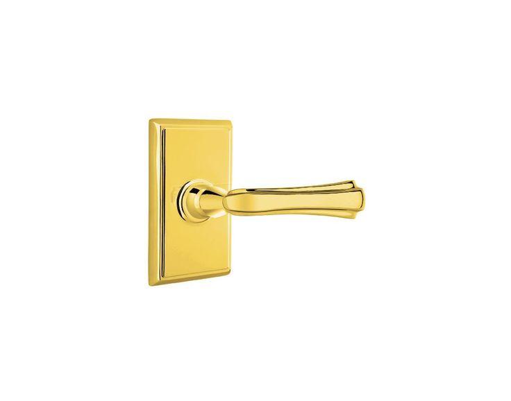 Emtek C820WM Wembley Brass Modern Privacy Door Leverset with the CF Mechanism Lifetime Polished Brass Leverset Privacy