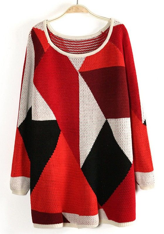 Red Geometric Color Block Round Neck Acrylic Sweater - fall favorites