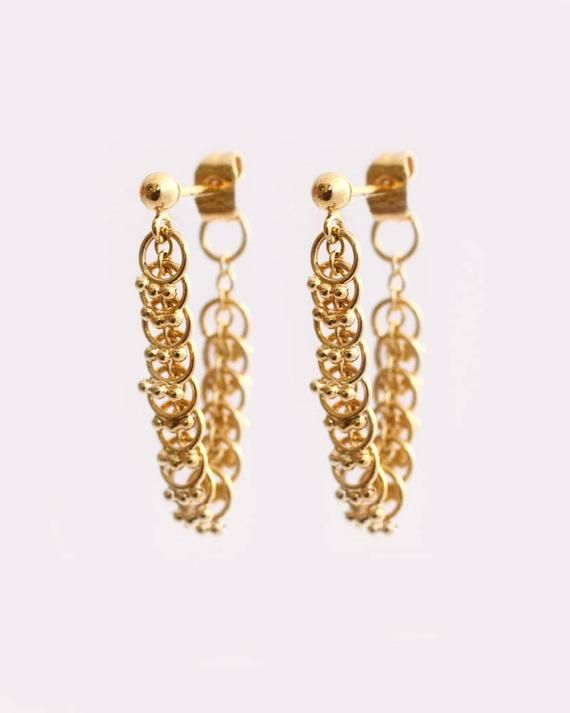 14k Jaune Blanc or Rose Long Drop Dangle Ball Chaîne Boucles d/'oreilles