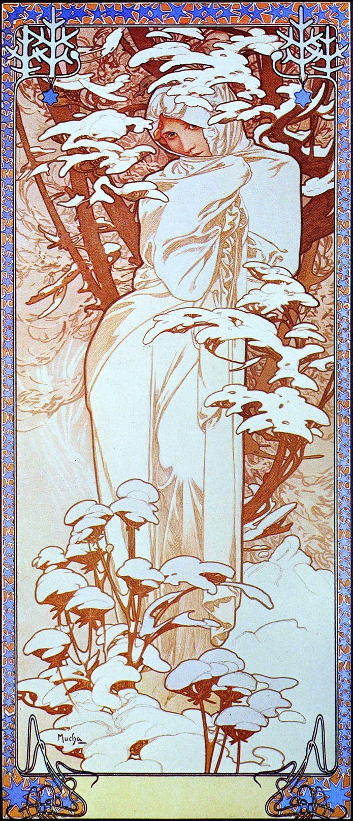 Alphonse Mucha. The Four Seasons - Winter 1900