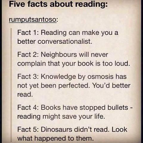 Five facts about reading. Love the fifth fact