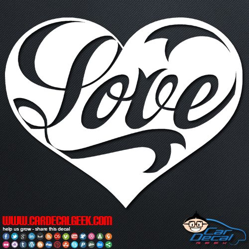 Love heart decal sticker