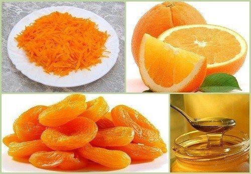 Салат для хорошего зрения - морковь тёртую 1 часть - курагу измельчённую 1 часть - апельсин измельчённый 1 часть - 1 ст. л. мёда Всё перемешайте и дайте настояться 5-10 мин.