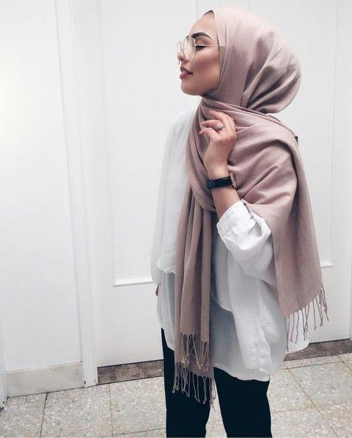 joliment, mode, fille, verre, hijab