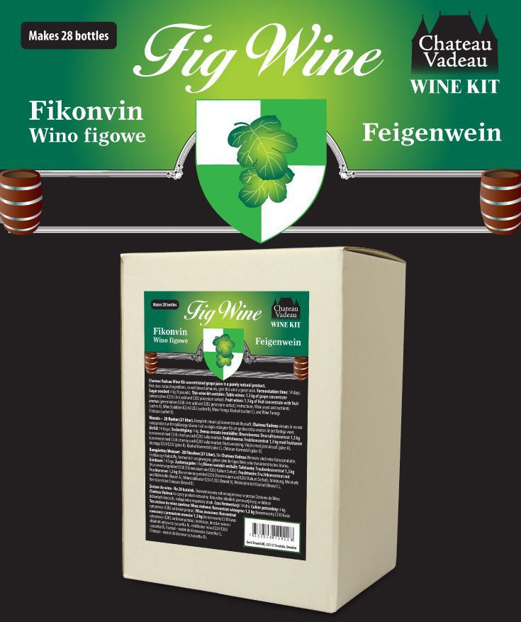 Chateau Vadeau Fikonvin vinsats ger 21 liter - 28 flaskor a 75 cl - lättdrucket bordvin. Tillsätt vatten och 4 kg socker. Alla andra ingredienser medföljer.