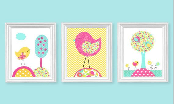 Aqua Fuchsia Yellow Girl's Nursery Art Birds by SweetPeaNurseryArt