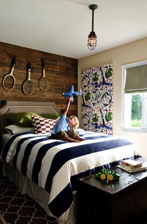 Navy and white striped bedding - Navy is a classic color that has made its way back to trend forward: Tennis Racket, Planks Wall, Boys Bedrooms, Big Boys, Boys Rooms, Wooden Wall, Wood Wall, Kids Rooms, Accent Wall